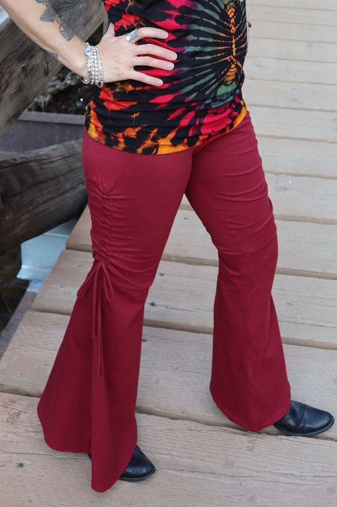 Basic Flair Pants with Tie - Dark Red - Filosophy