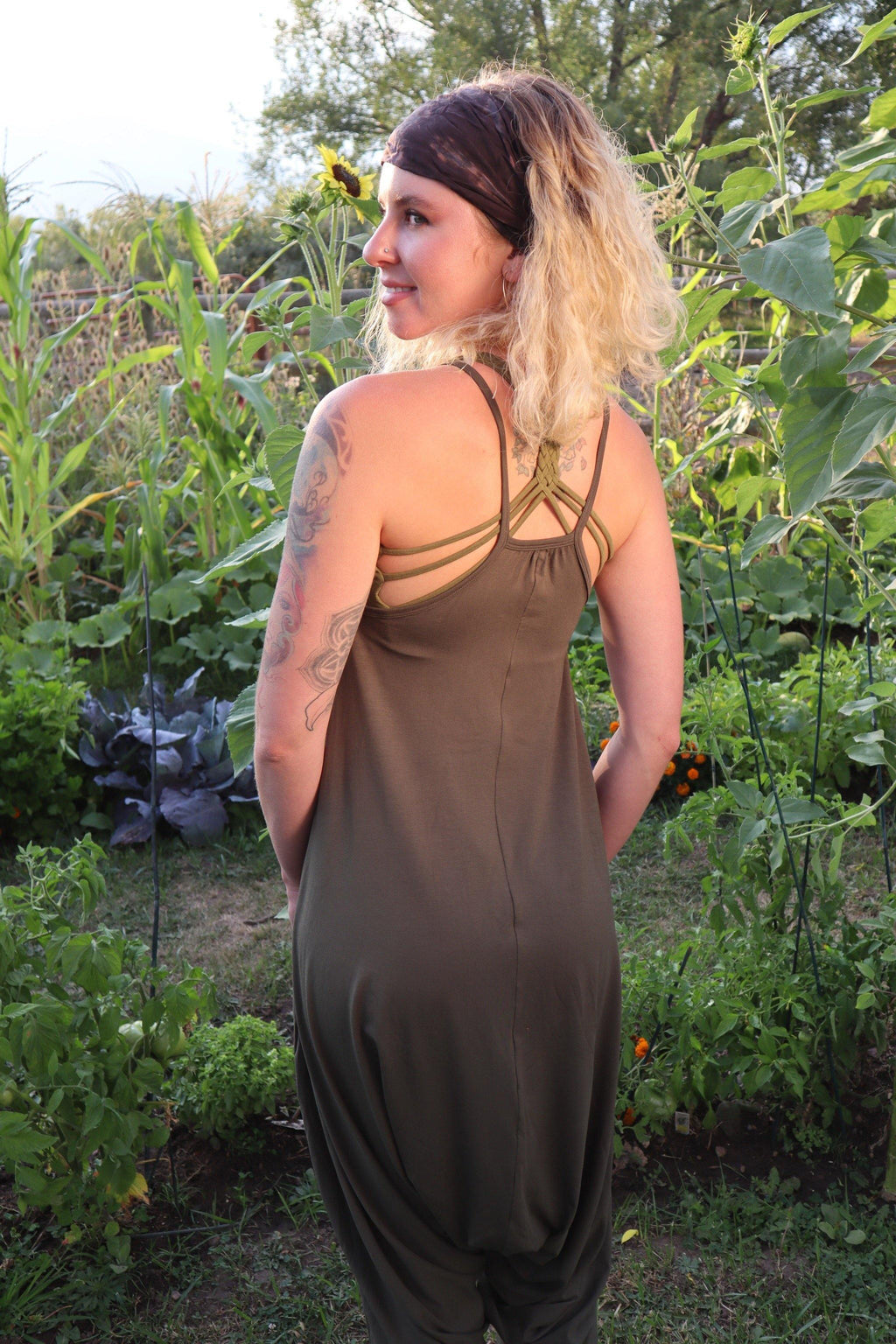 V Neck Jumpsuit - Army Green
