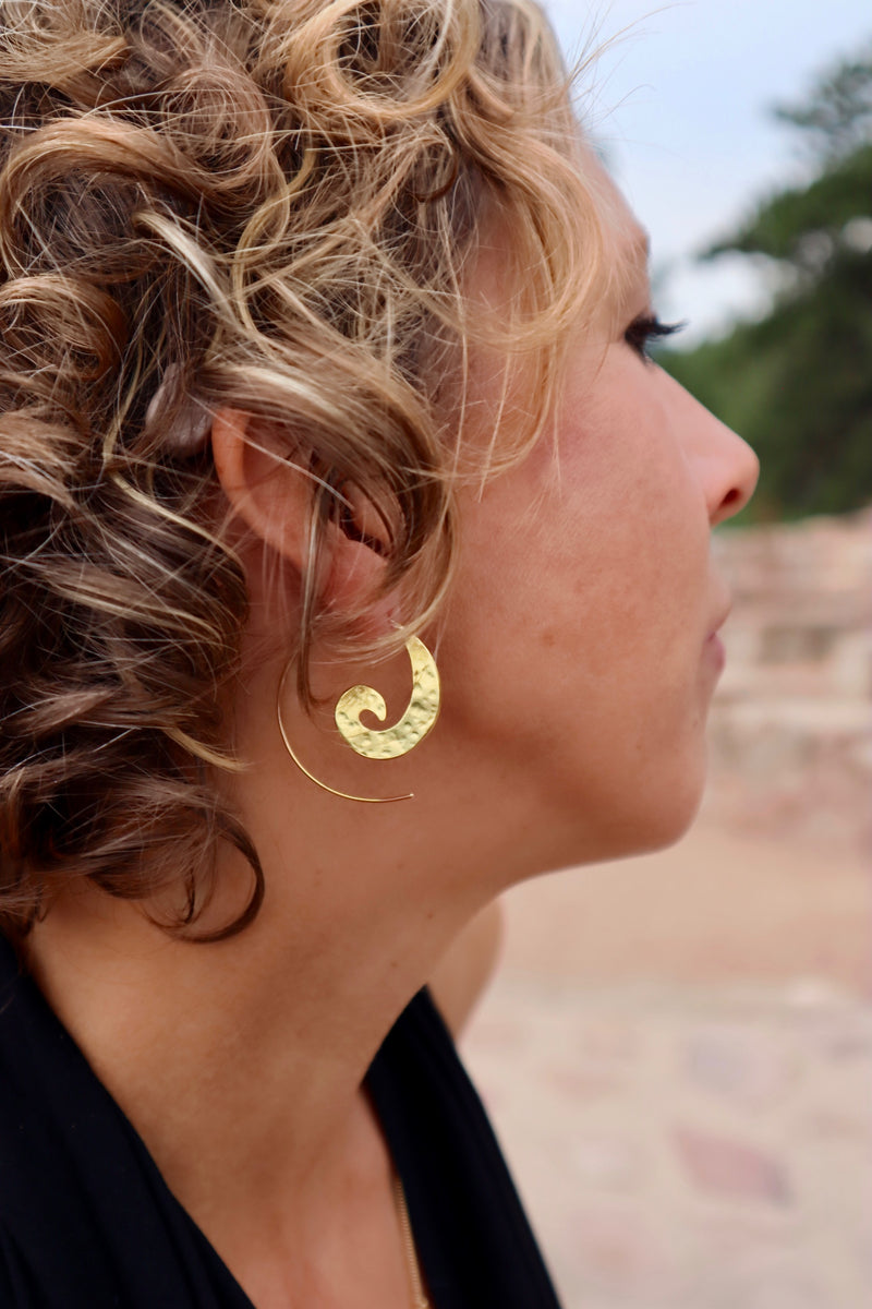 Hammered Brass Swirl Earrings