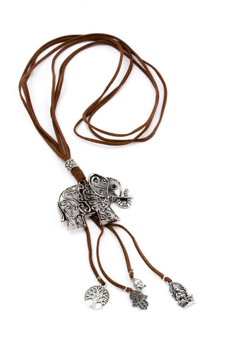 Elephant Pendant Suede Necklace - Brown - Filosophy