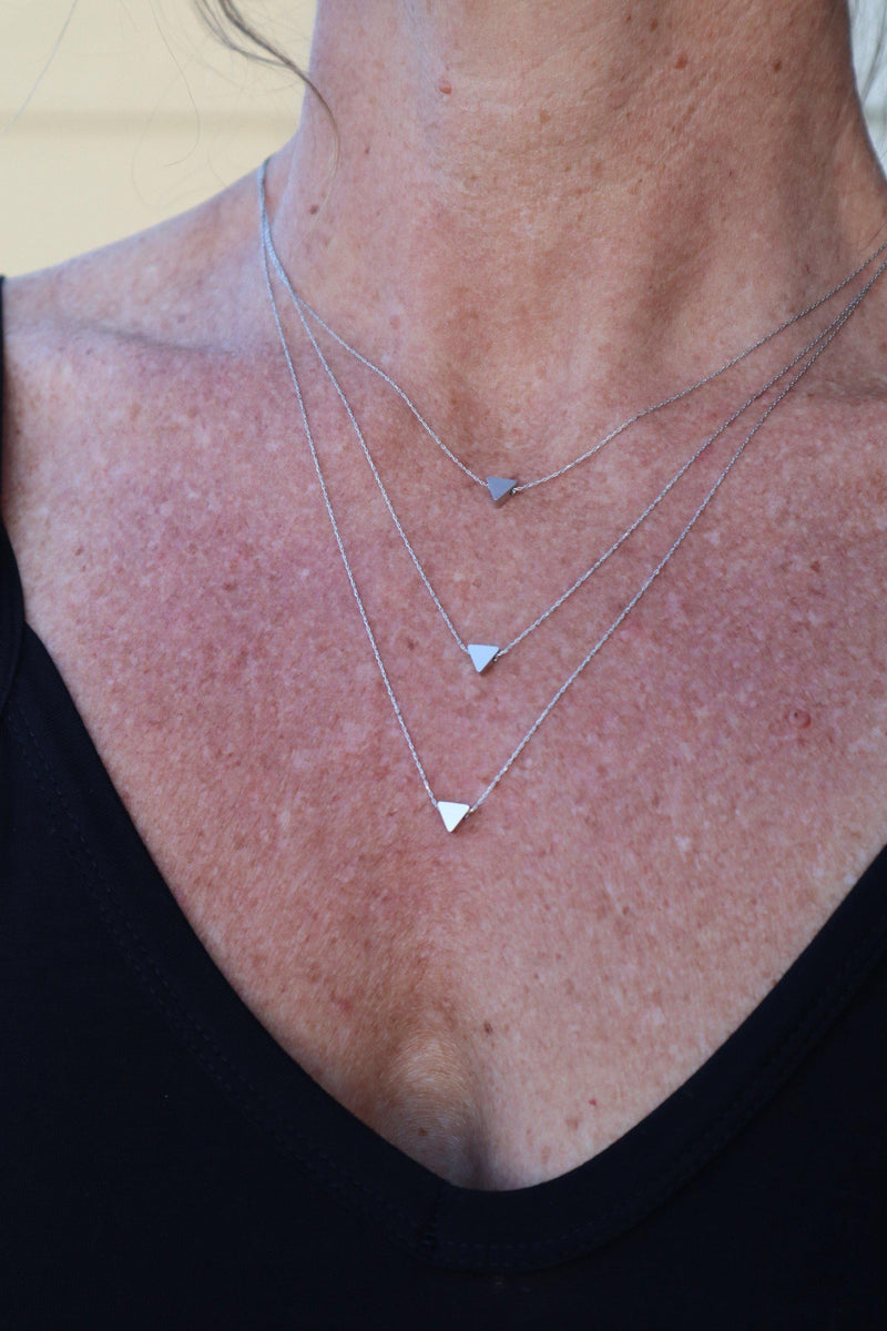 Triple Triangle Necklace - Silver
