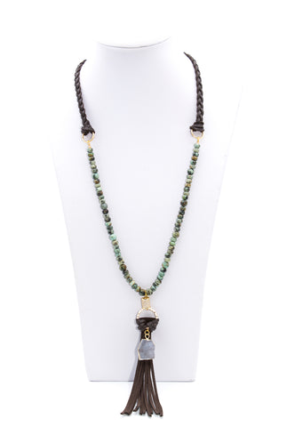 Leather Tassel Necklace With African Turquoise And Druzy Agate Charm - Filosophy