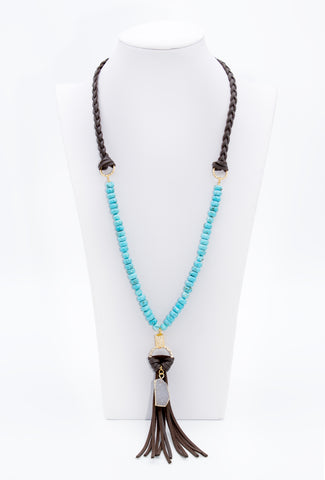 Leather Tassel Necklace With Turquoise And Druzy Agate Charm - Filosophy