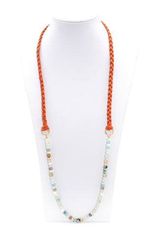 Long Braided Leather Amazonite Beaded Necklace - Filosophy