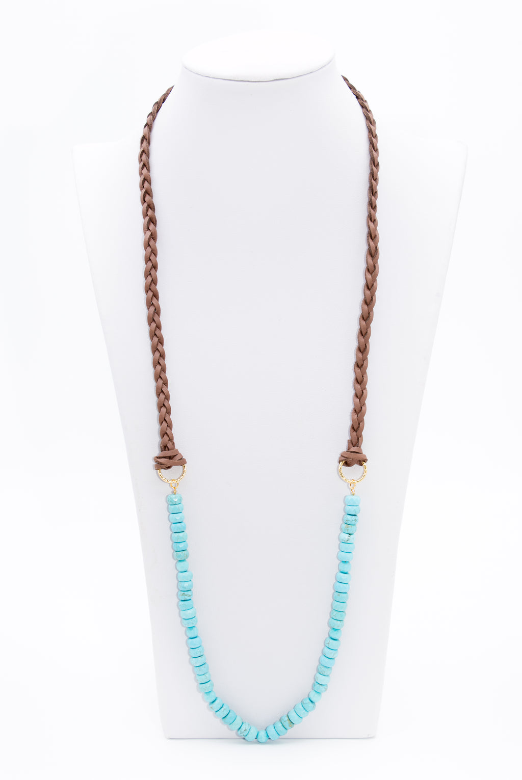 Long Braided Leather Turquoise Beaded Necklace - Filosophy
