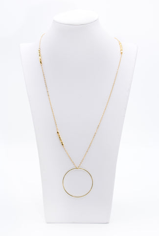 Long Gold Chain Faceted Brass Bead Necklace With Loop Circle Charm - Filosophy
