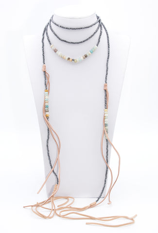 Long Leather Amazonite Gemstone Choker Bead Necklace - Filosophy