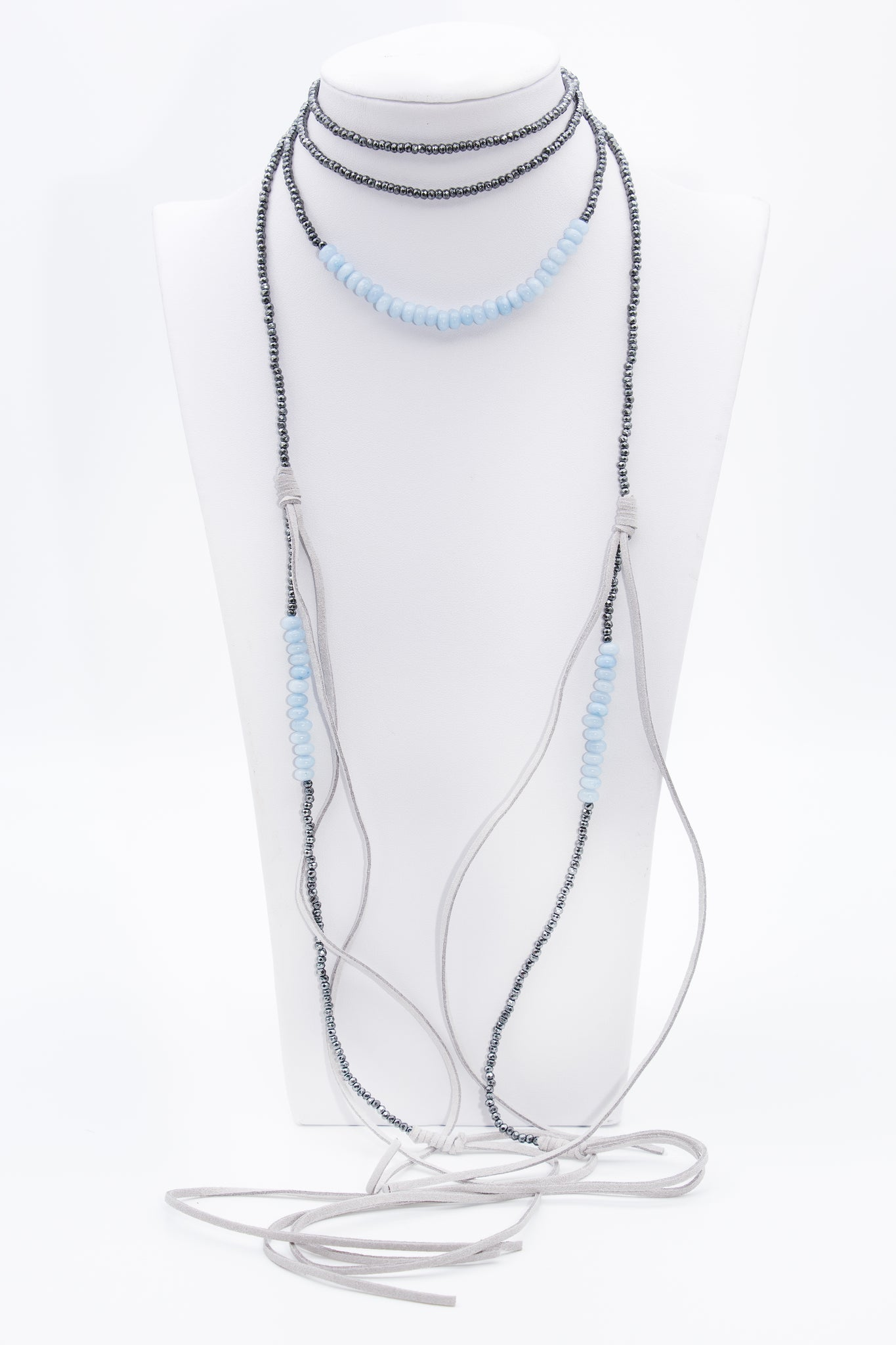 Long Leather Chalcedony Gemstone Choker Bead Necklace - Filosophy
