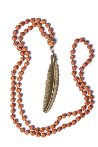 Rudraksha Large Feather Necklaces - Brass