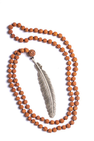 Rudraksha Large Feather Necklaces - Silver - Filosophy