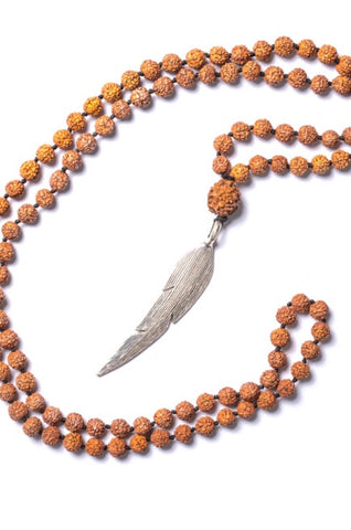 Rudraksha Feather Necklace