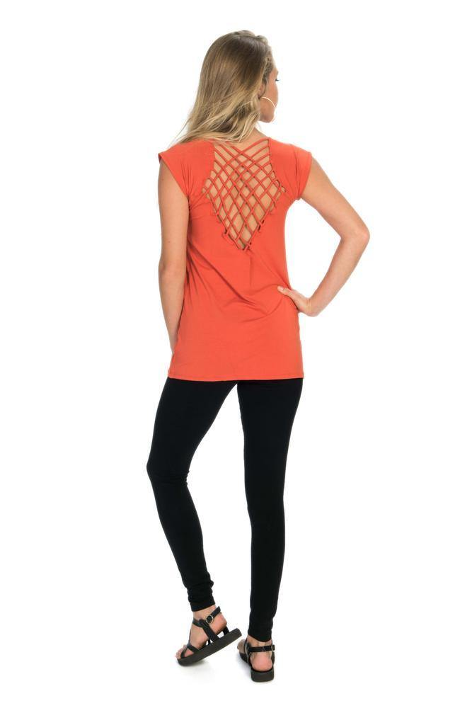 Crisscross Back T-Shirt - Coral