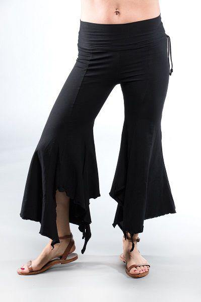 The Gypsy Pants are the perfect flowy dancing, yoga, or casual pants. These seven-eighths, asymmetrical, flared, folded top, cotton fairy pants make flattering, sassy pants for most body sizes. The cinched, adjustable waistline allows you to tailor the pants to your waistline, comfortably.
