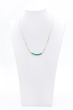 Round Chrissocola Beaded Bar Gemstone Necklace With Gold Chain - Filosophy