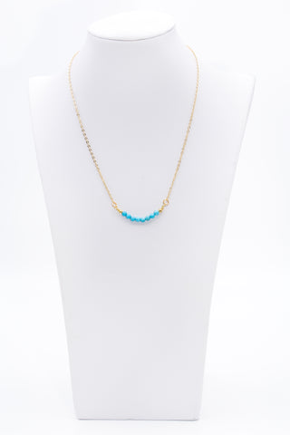 Round Turquoise Beaded Bar Gemstone Necklace With Gold Chain - Filosophy