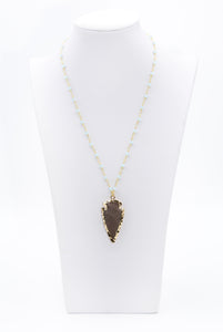 Rosary Beaded Arrowhead Jasper Pendant Necklace - Filosophy