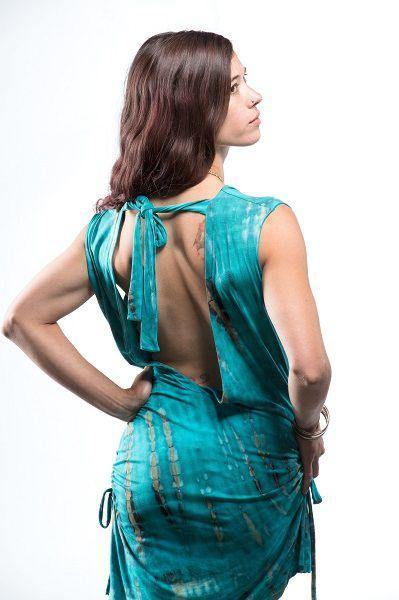 Open Back Top With Tie - Turquoise | Brown Tie Dye