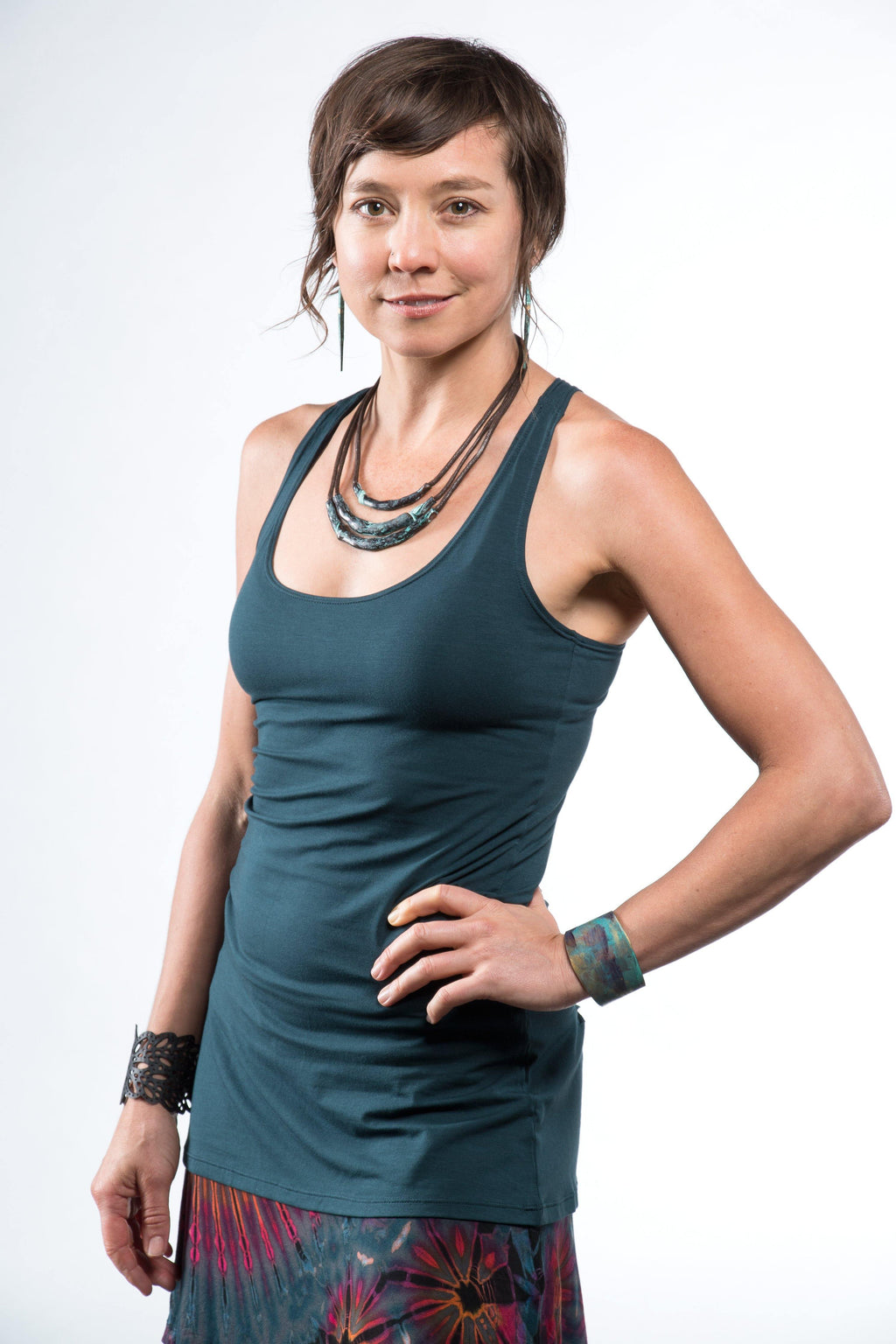 Yoga Tank with Woven Back - Teal