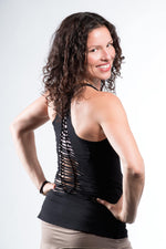 Yoga Tank with Woven Back - Black - Filosophy