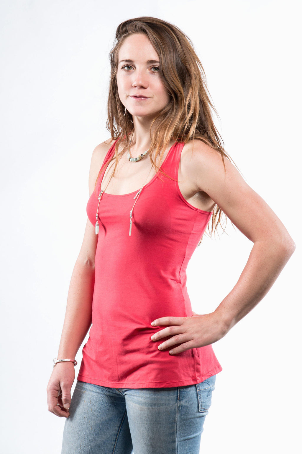Yoga Tank with Woven Back - Coral