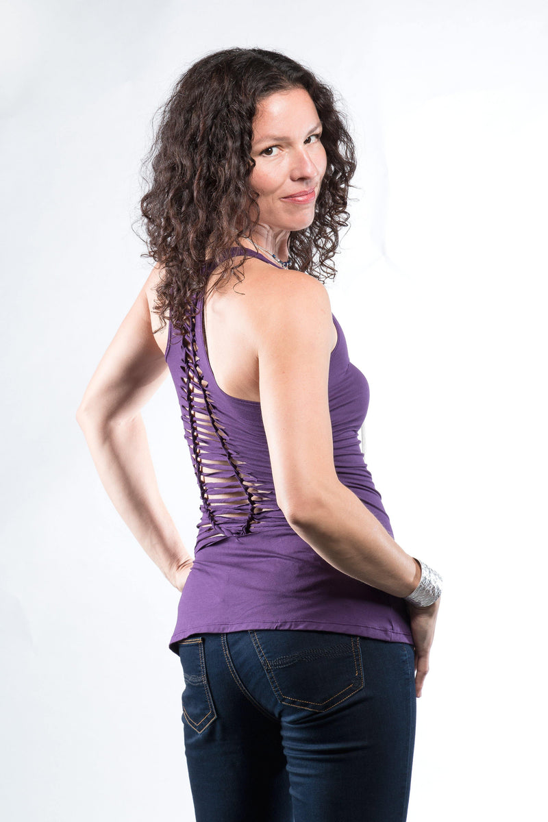 Yoga Tank with Woven Back - Dark Purple