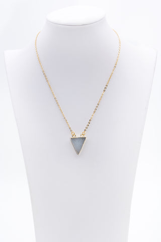 Triangle Druzy Necklace With Gold Edges - Filosophy