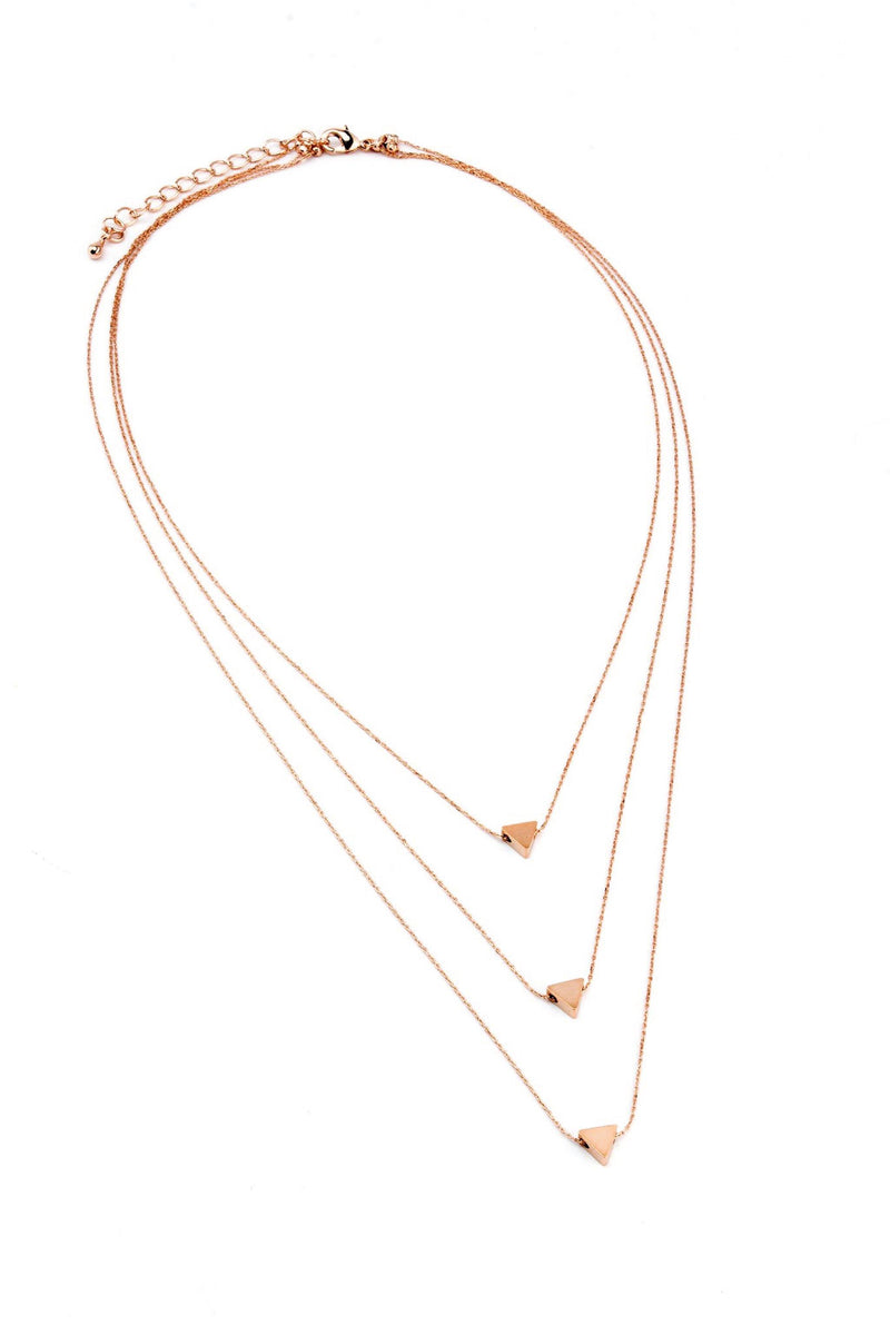 Triple Triangle Necklace - Rose Gold