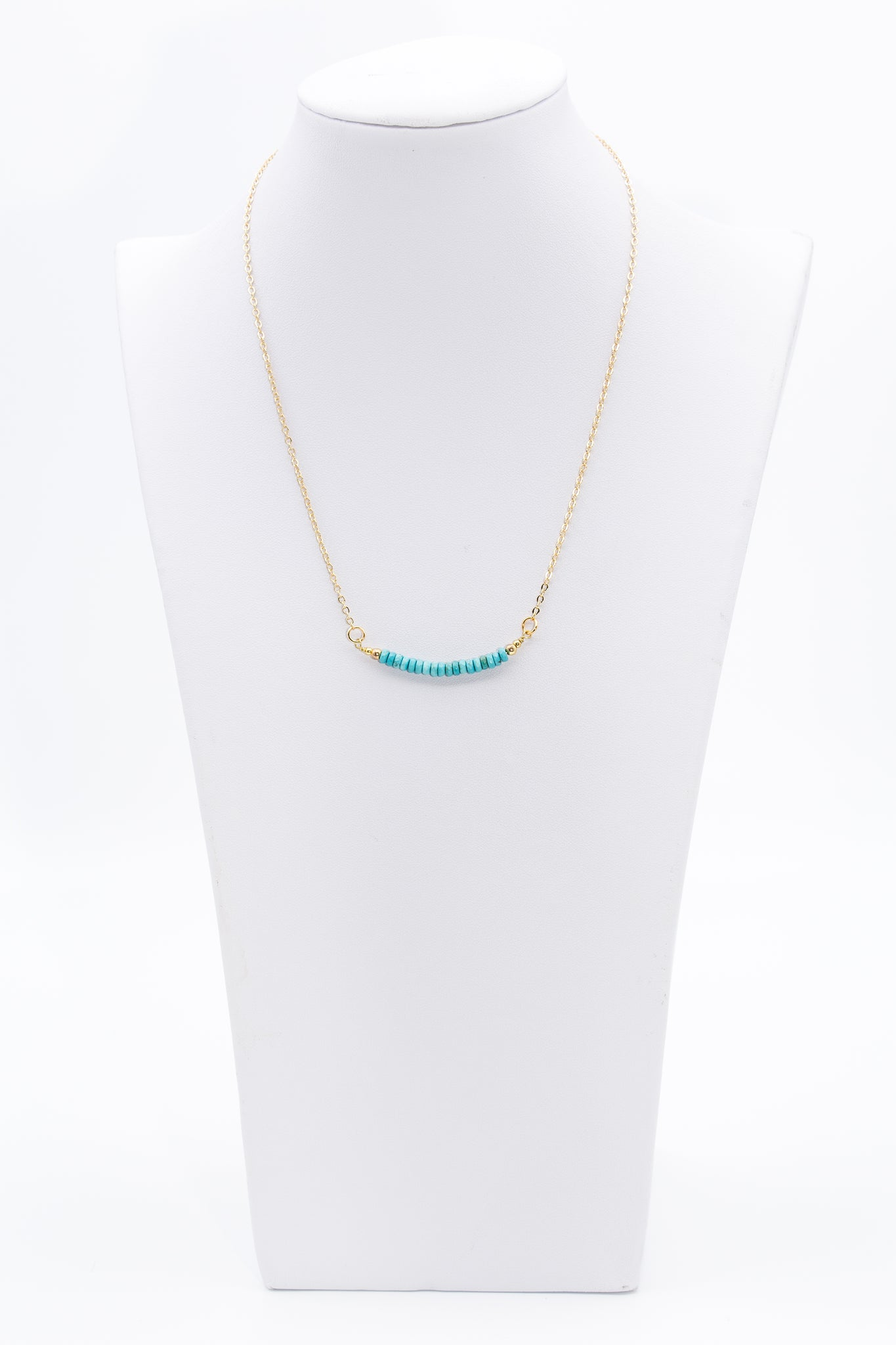 Turquoise Tube Gemstone  Beaded Bar Necklace With Gold Chain - Filosophy