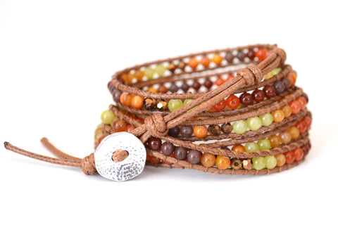 Wrap Bracelet-Orange, Brown, Green, Red Stone