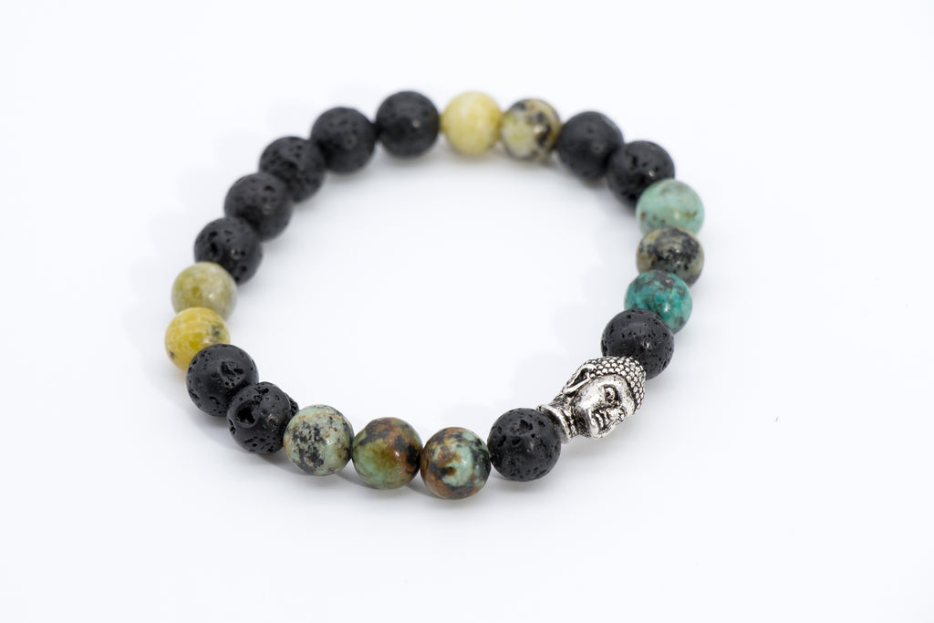 Yoga Meditation Lava Rock Beaded Buddha Charm Bracelet - Filosophy