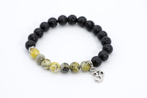 Yoga Meditation Lava Rock Beaded Om Charm Bracelet - Filosophy