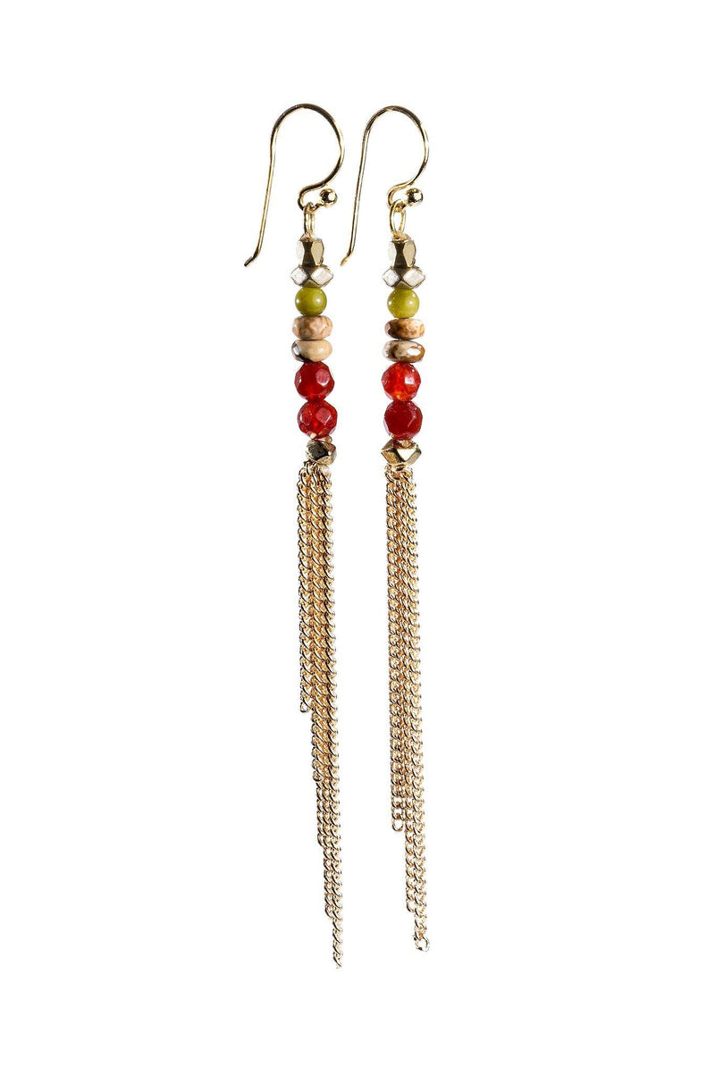 These are handmade, fair trade earrings made with gemstones and beads with a silver  plated hooks. These single strand beaded earrings are lightweight and casual. The bottom oval adds a unique, elegant style.