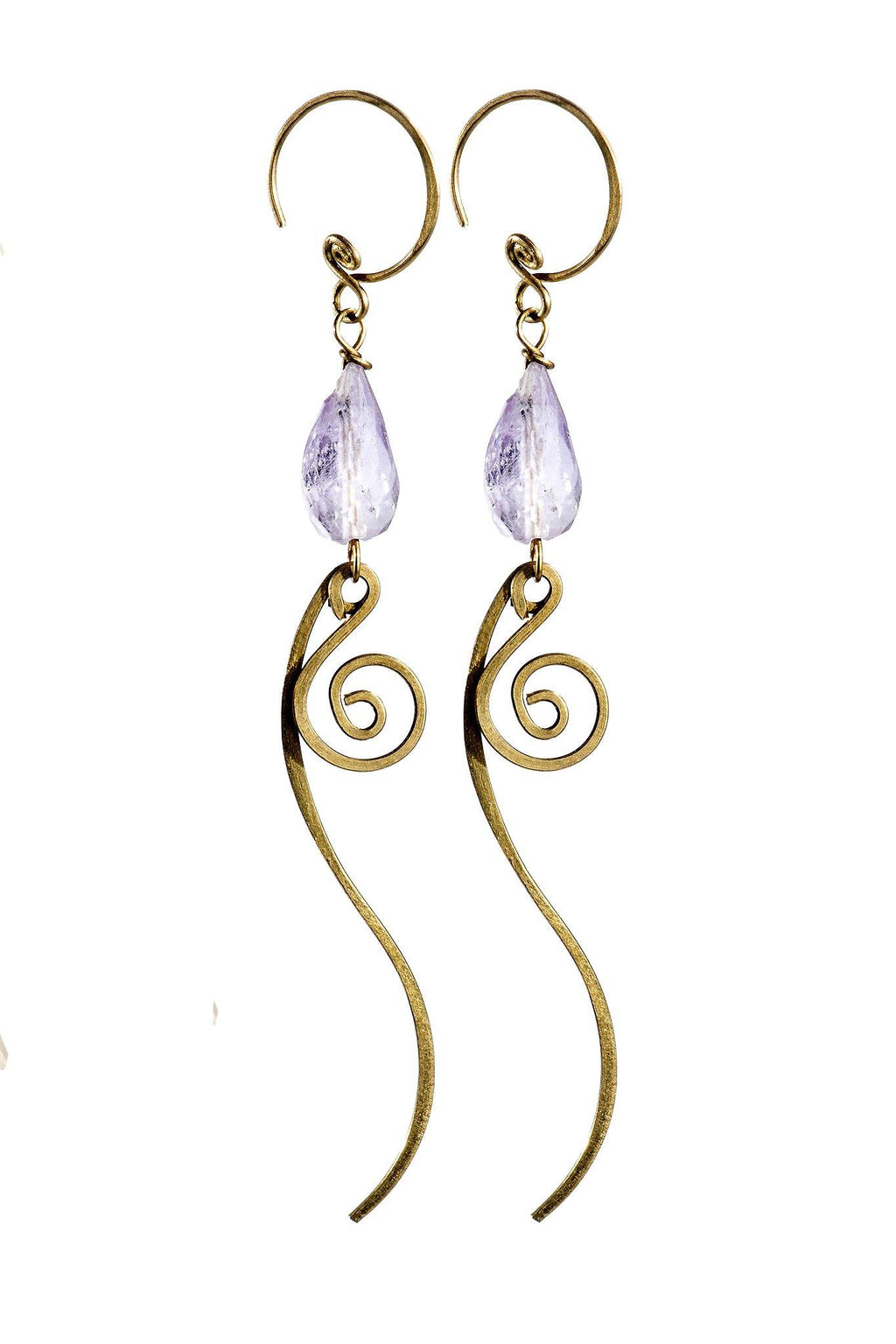 Brass Drop Swirl Amethyst Earrings - Filosophy