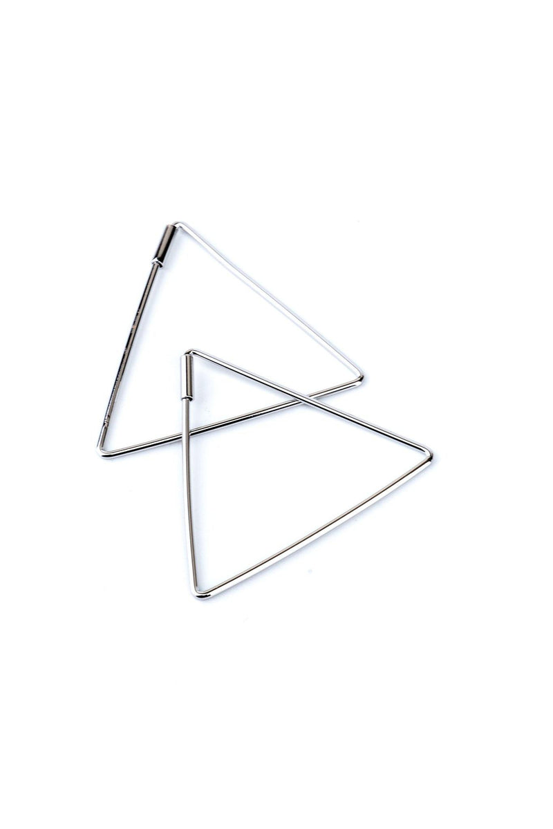 These are triangle earrings.  They are made with rhodium and a high-quality silver plating.