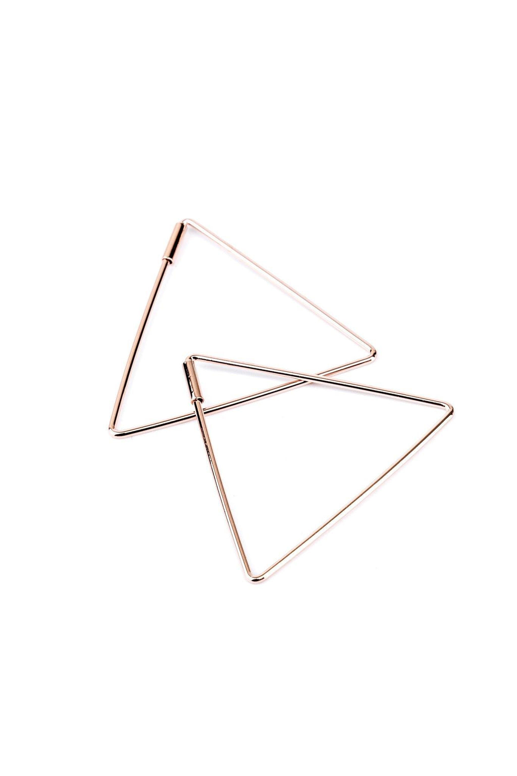 These are triangle earrings.  They are made with rhodium and a high-quality rose gold plating.