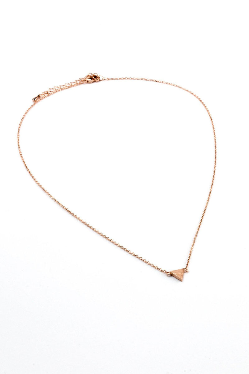 Single Triangle Necklace - Rose Gold