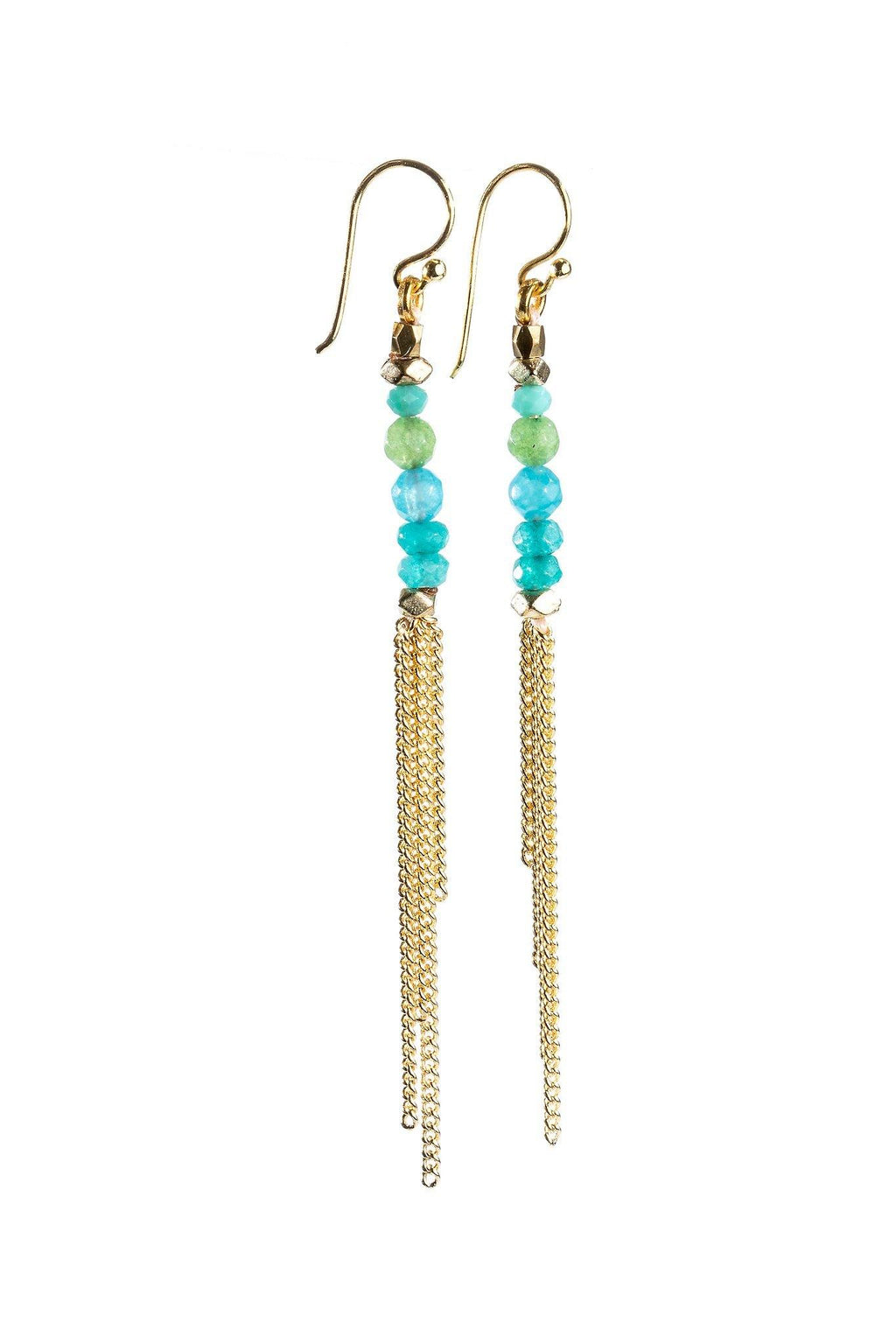These are handmade, fair trade earrings made with gemstones and a chain tassel. Gold plated hooks. These single strand beaded earrings are lightweight and sexy. The tassel gives it a unique style.