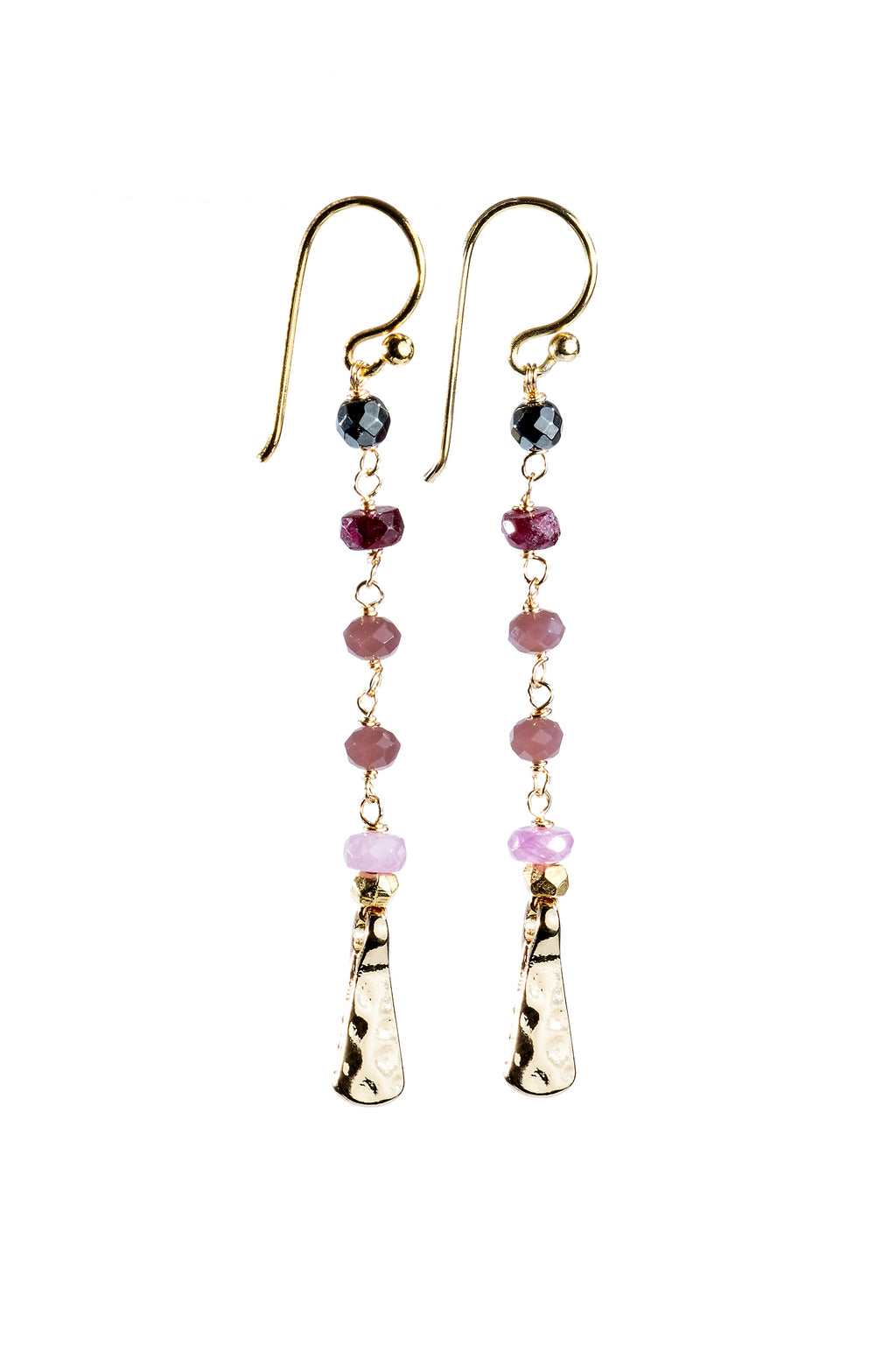 Ombre Rosary Gemstone Earrings in Pink - Filosophy
