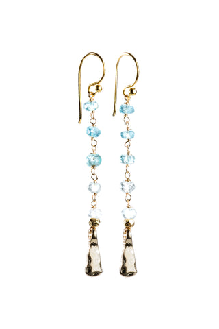Ombre Rosary Gemstone Earrings Light Blue