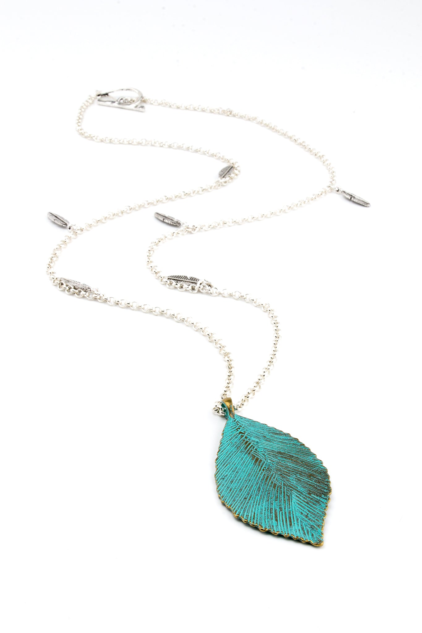 Patina Leaf Charm Necklace
