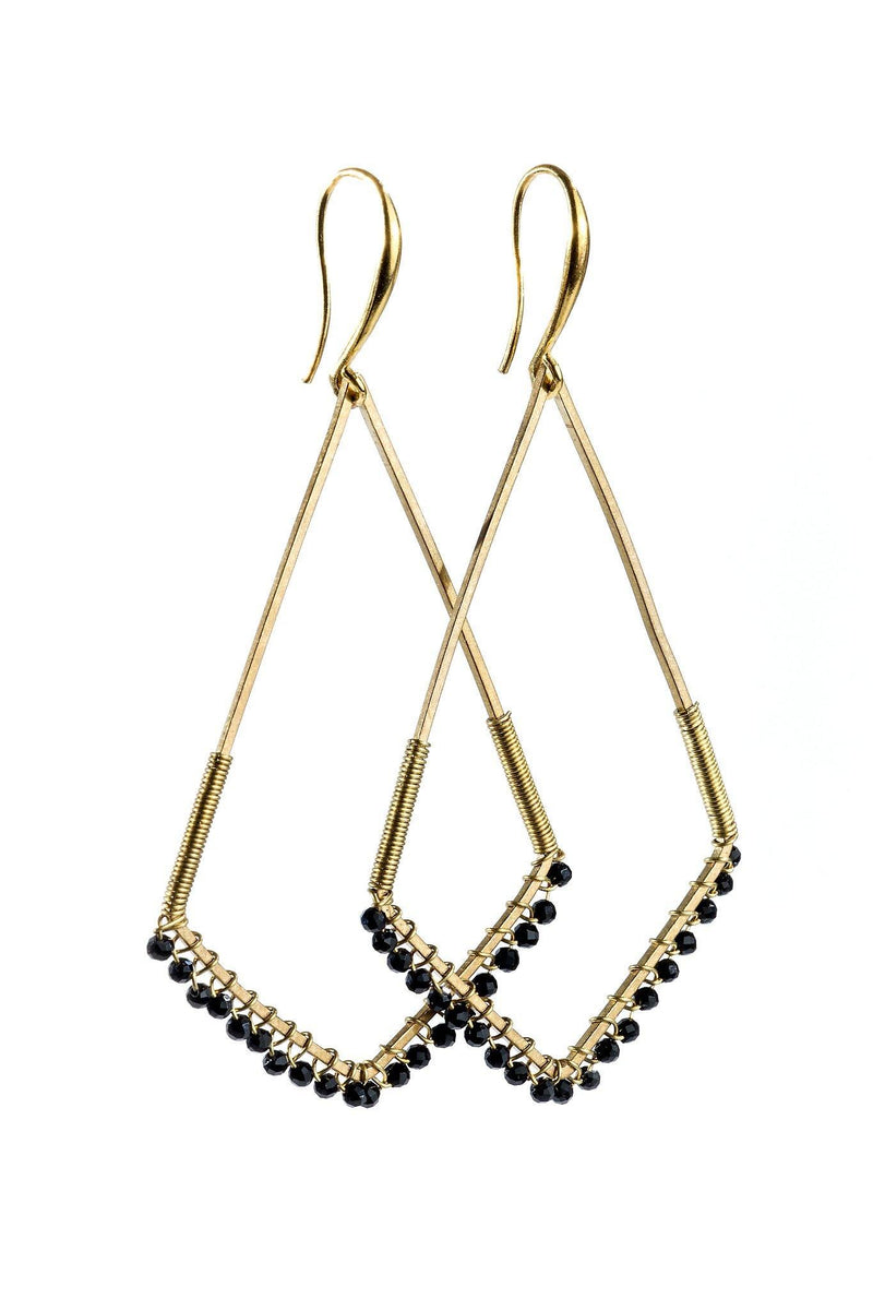 The kite gemstone drop earrings are a fun alternative to round hoops.  They feature wire wrapped, 2mm, faceted, rondelle gemstones around a brass kite shape drop.  They are handmade with love in Indonesia. This is a Fair trade Product.