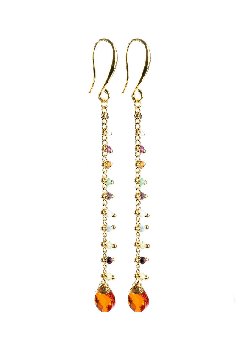 Aria Earrings - Fire Agate | Multi Color Gemstone