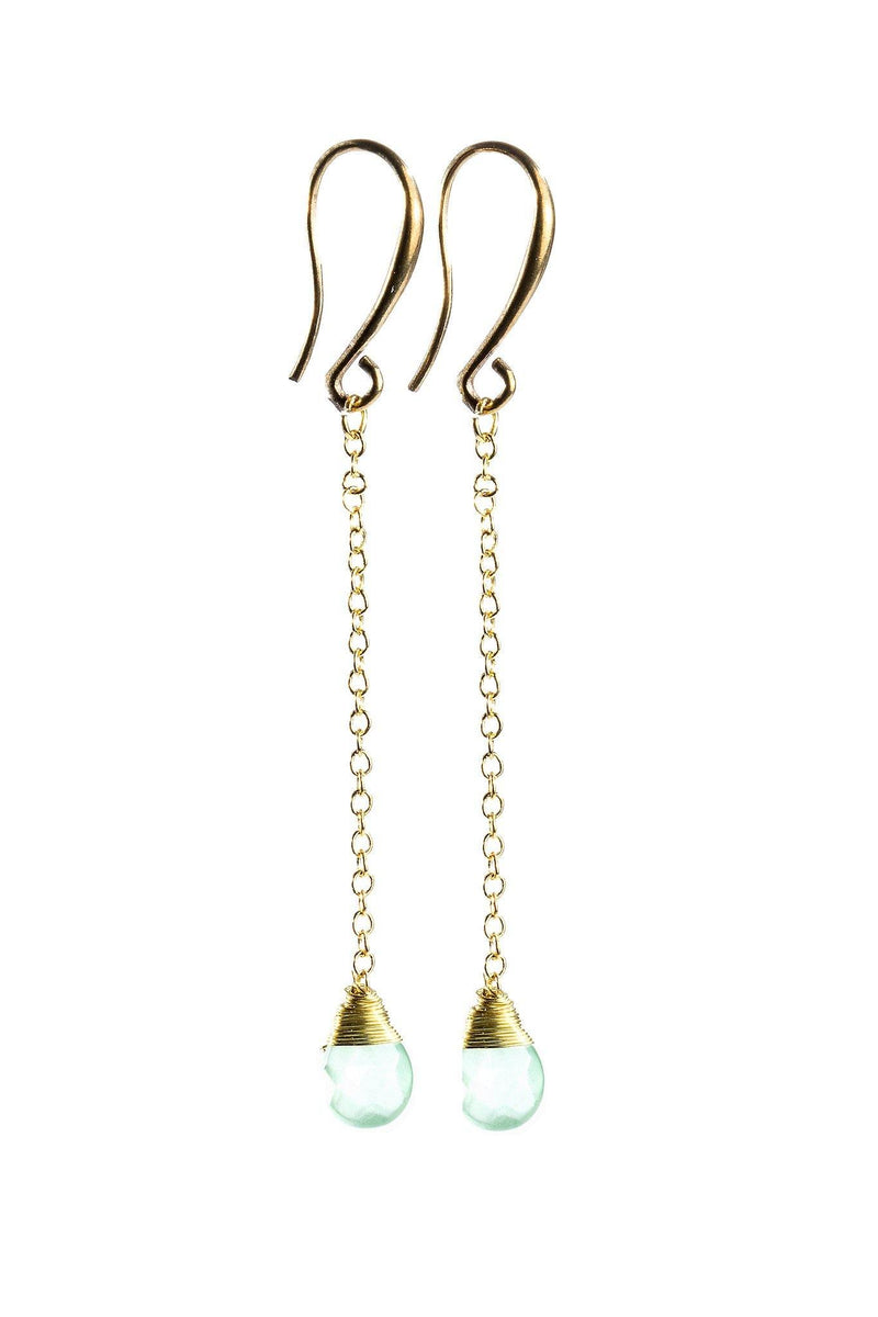 These drop gemstone earrings are perfect to add just the right touch to dress up an outfit.  They feature beautiful, faceted teardrop gemstones wire wrapped to a gold chain.  They are handmade with love in Thailand. This is a Fairtrade Product.