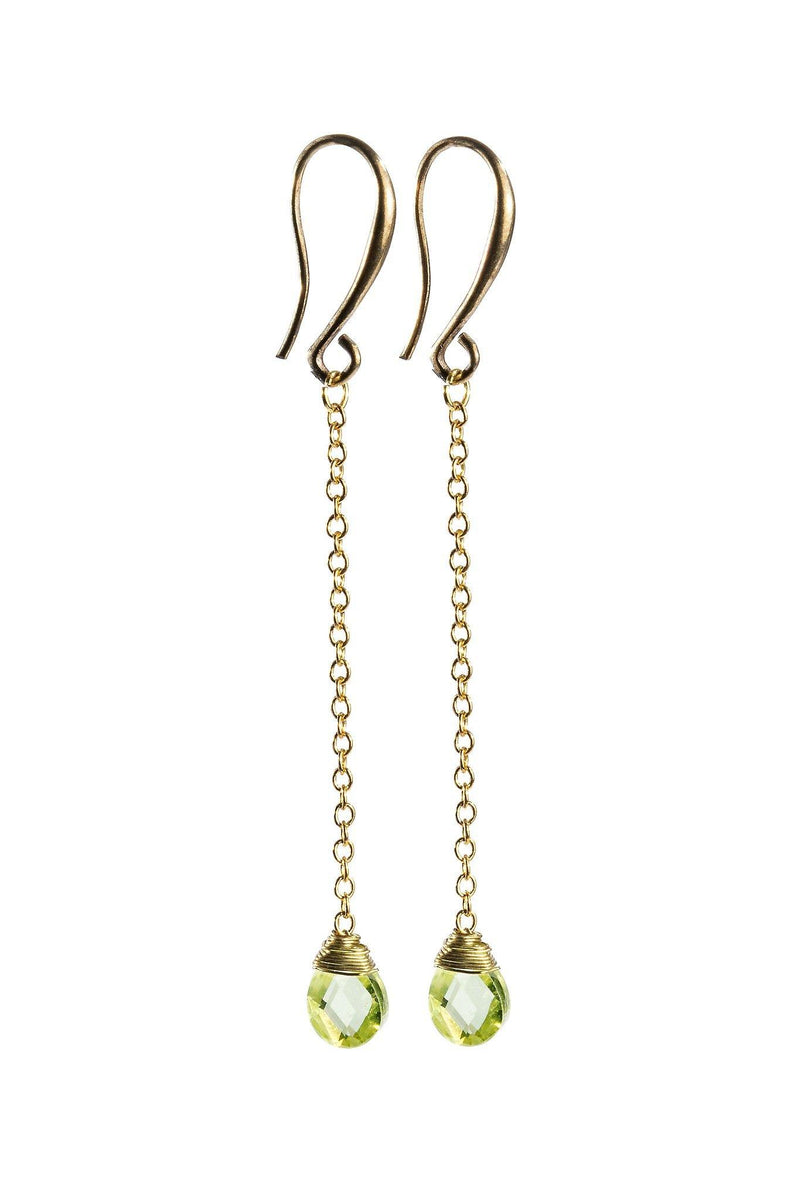 Teardrop Gemstone on Gold Chain - Green Peridot