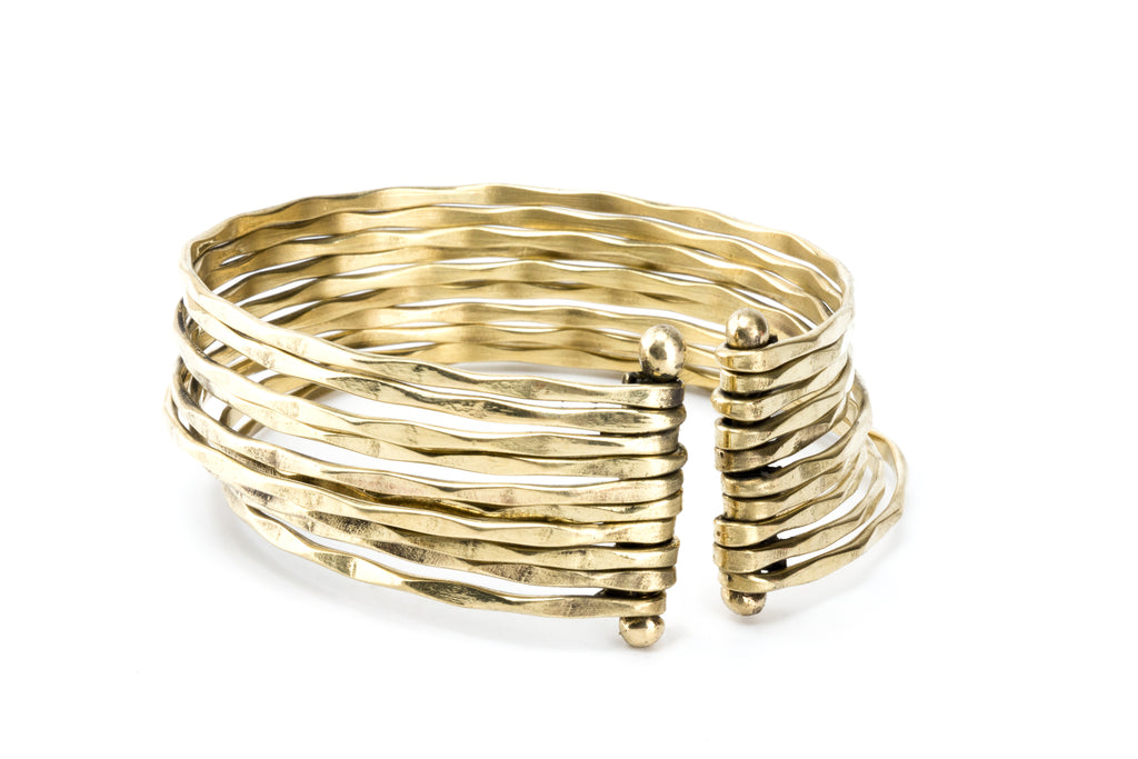 Hammered Gold Bangle Cuff - Filosophy