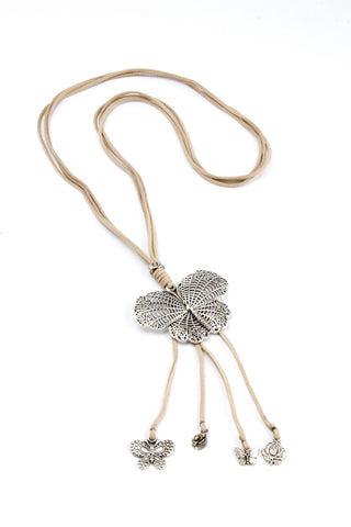 Butterfly Pendant Suede Necklace - Tan - Filosophy