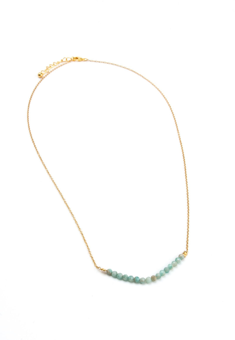 Aqua Marine Bar Necklace in Gold - Filosophy
