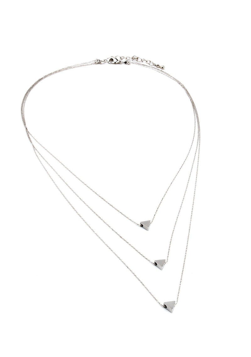 This triple triangle necklace is our most popular necklace of all time!  Its beautiful, delicate chain is perfectly layered with three small triangles.  The chain is gold | or rose gold plated rhodium, or silver which is the color of the rhodium.  This is an excelent quality material that doesn't tarnish. Wear this beautiful traingle necklace to accentuate any V-cut blouse and your favorite pair of jeans.