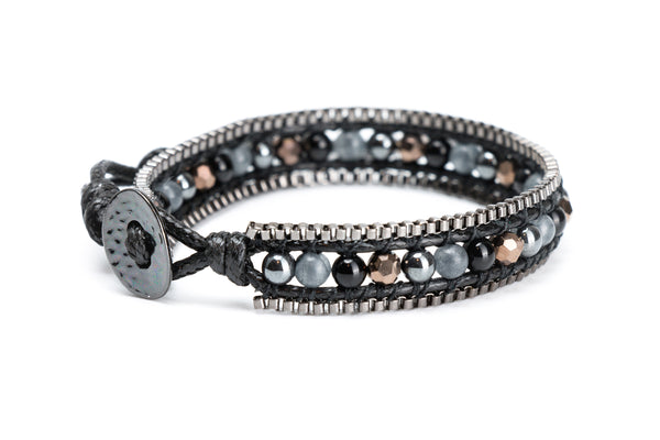 Single Wrap Gemstone Bracelet Lined with Chain - Filosophy