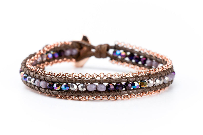 Single Wrap Gemstone Bracelet Lined with Chain - Purple | Rose Gold